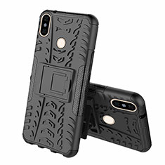 Funda Bumper Silicona y Plastico Mate Carcasa con Soporte Z01 para Xiaomi Mi 8 Negro