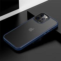 Funda Bumper Silicona y Plastico Mate Carcasa N01 para Apple iPhone 12 Pro Max Azul