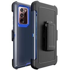 Funda Bumper Silicona y Plastico Mate Carcasa N04 para Samsung Galaxy Note 20 Ultra 5G Azul y Negro