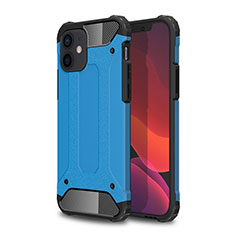Funda Bumper Silicona y Plastico Mate Carcasa para Apple iPhone 12 Mini Azul Cielo