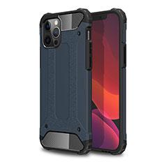 Funda Bumper Silicona y Plastico Mate Carcasa para Apple iPhone 12 Pro Max Azul