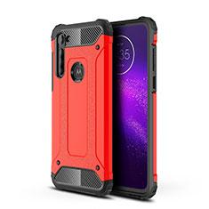 Funda Bumper Silicona y Plastico Mate Carcasa para Motorola Moto G8 Power Rojo