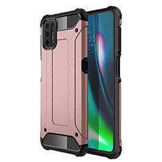 Funda Bumper Silicona y Plastico Mate Carcasa para Motorola Moto G9 Plus Oro Rosa