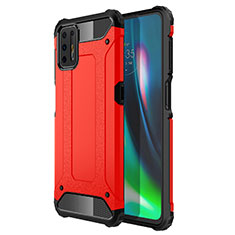 Funda Bumper Silicona y Plastico Mate Carcasa para Motorola Moto G9 Plus Rojo