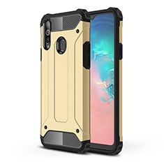 Funda Bumper Silicona y Plastico Mate Carcasa para Samsung Galaxy A20s Oro