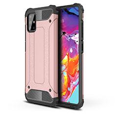 Funda Bumper Silicona y Plastico Mate Carcasa para Samsung Galaxy A51 4G Oro Rosa
