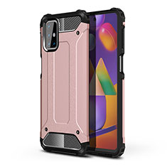 Funda Bumper Silicona y Plastico Mate Carcasa para Samsung Galaxy M31s Oro Rosa