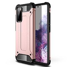Funda Bumper Silicona y Plastico Mate Carcasa para Samsung Galaxy S20 FE 5G Oro Rosa