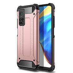 Funda Bumper Silicona y Plastico Mate Carcasa para Xiaomi Mi 10T 5G Oro Rosa
