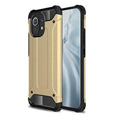 Funda Bumper Silicona y Plastico Mate Carcasa para Xiaomi Mi 11 5G Oro