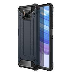 Funda Bumper Silicona y Plastico Mate Carcasa para Xiaomi Poco X3 NFC Azul Real