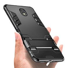 Funda Bumper Silicona y Plastico Mate con Anillo de dedo Soporte A01 para Samsung Galaxy J3 (2018) SM-J377A Negro