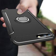 Funda Bumper Silicona y Plastico Mate con Anillo de dedo Soporte A03 para Apple iPhone 8 Plus Negro