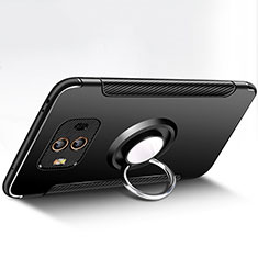 Funda Bumper Silicona y Plastico Mate con Anillo de dedo Soporte para Huawei Mate 10 Negro