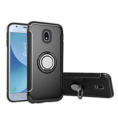 Funda Bumper Silicona y Plastico Mate con Anillo de dedo Soporte para Samsung Galaxy J5 (2017) Duos J530F Negro