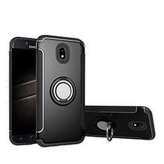 Funda Bumper Silicona y Plastico Mate con Anillo de dedo Soporte para Samsung Galaxy J5 Pro (2017) J530Y Negro