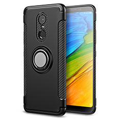 Funda Bumper Silicona y Plastico Mate con Anillo de dedo Soporte para Xiaomi Redmi Note 5 Indian Version Negro