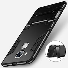 Funda Bumper Silicona y Plastico Mate con Soporte para Huawei G9 Plus Negro