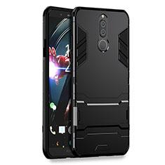 Funda Bumper Silicona y Plastico Mate con Soporte para Huawei Mate 10 Lite Negro