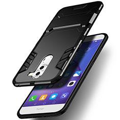 Funda Bumper Silicona y Plastico Mate con Soporte para Huawei Mate 9 Lite Negro