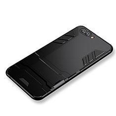 Funda Bumper Silicona y Plastico Mate con Soporte para Huawei Nova 2S Negro