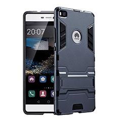 Funda Bumper Silicona y Plastico Mate con Soporte para Huawei P8 Negro