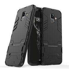 Funda Bumper Silicona y Plastico Mate con Soporte para Samsung Galaxy A6 (2018) Dual SIM Negro