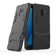 Funda Bumper Silicona y Plastico Mate con Soporte para Samsung Galaxy A8+ A8 Plus (2018) Duos A730F Negro