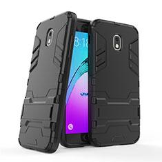 Funda Bumper Silicona y Plastico Mate con Soporte para Samsung Galaxy Amp Prime 3 Negro
