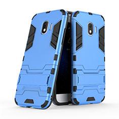 Funda Bumper Silicona y Plastico Mate con Soporte para Samsung Galaxy J2 Pro (2018) J250F Azul