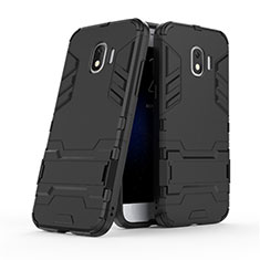 Funda Bumper Silicona y Plastico Mate con Soporte para Samsung Galaxy J2 Pro (2018) J250F Negro