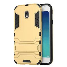 Funda Bumper Silicona y Plastico Mate con Soporte para Samsung Galaxy J3 (2017) J330F DS Oro