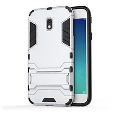 Funda Bumper Silicona y Plastico Mate con Soporte para Samsung Galaxy J3 Pro (2017) Blanco