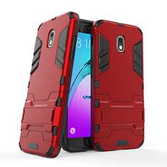 Funda Bumper Silicona y Plastico Mate con Soporte para Samsung Galaxy J3 Star Rojo