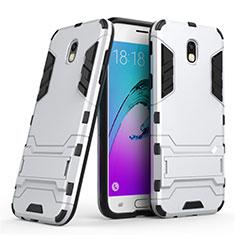 Funda Bumper Silicona y Plastico Mate con Soporte para Samsung Galaxy J5 (2017) Duos J530F Blanco