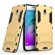 Funda Bumper Silicona y Plastico Mate con Soporte para Samsung Galaxy J5 (2017) Duos J530F Oro
