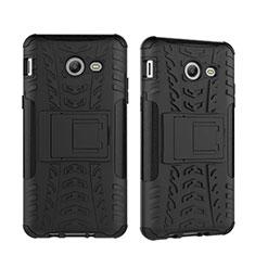 Funda Bumper Silicona y Plastico Mate con Soporte para Samsung Galaxy J5 (2017) Version Americaine Negro