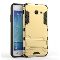 Funda Bumper Silicona y Plastico Mate con Soporte para Samsung Galaxy J5 (2017) Version Americaine Oro