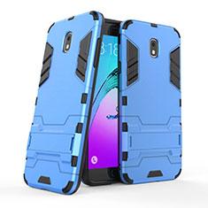Funda Bumper Silicona y Plastico Mate con Soporte para Samsung Galaxy J7 (2018) J737 Azul