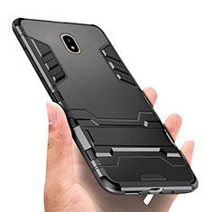 Funda Bumper Silicona y Plastico Mate con Soporte para Samsung Galaxy J7 Pro Negro