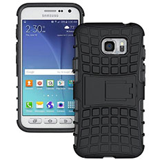 Funda Bumper Silicona y Plastico Mate con Soporte para Samsung Galaxy S7 Active G891A Negro