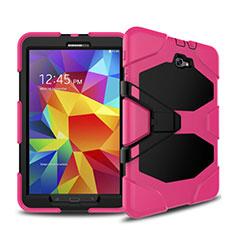 Funda Bumper Silicona y Plastico Mate con Soporte para Samsung Galaxy Tab A6 10.1 SM-T580 SM-T585 Rosa Roja