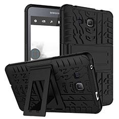 Funda Bumper Silicona y Plastico Mate con Soporte para Samsung Galaxy Tab A6 7.0 SM-T280 SM-T285 Negro