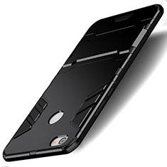 Funda Bumper Silicona y Plastico Mate con Soporte para Xiaomi Redmi Note 5A Pro Negro