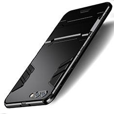Funda Bumper Silicona y Plastico Mate con Soporte R01 para Huawei Honor V10 Negro