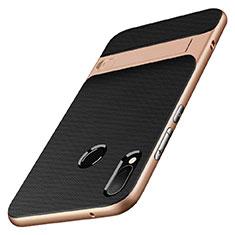 Funda Bumper Silicona y Plastico Mate con Soporte W01 para Huawei P20 Lite Oro y Negro