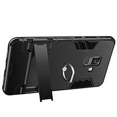 Funda Bumper Silicona y Plastico Mate con Soporte W01 para Samsung Galaxy A6 (2018) Dual SIM Negro