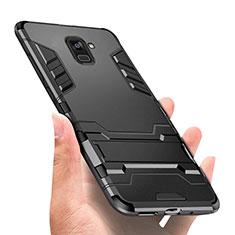 Funda Bumper Silicona y Plastico Mate con Soporte W01 para Samsung Galaxy A8+ A8 Plus (2018) Duos A730F Negro