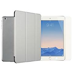 Funda de Cuero Cartera con Protector de Pantalla para Apple iPad Mini 3 Plata