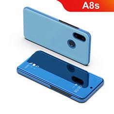 Funda de Cuero Cartera con Soporte Carcasa Espejo Carcasa para Samsung Galaxy A8s SM-G8870 Azul